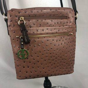 GIANNI BINI crossbody brown ostrich style purse